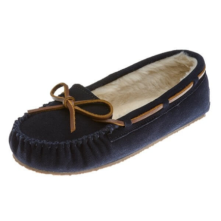 Minnetonka Moccasins 4014 - Women's Cally Slipper - Pile Lined - Dark Navy Suede