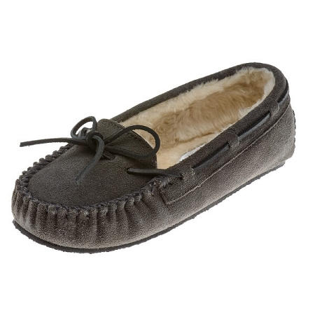 Minnetonka Moccasins 4015 - Women's Cally Slipper - Pile Lined - Grey Suede