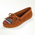 Minnetonka Moccasins 402K - Women's Kilty Hardsole Moccasin - Brown Suede With Arizona Fabric