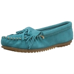 Minnetonka Moccasins 402S - Women's Kilty Hardsole Moccasin - Turquoise Suede