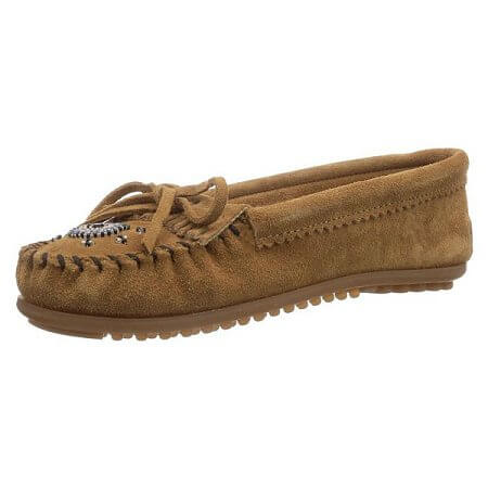 Minnetonka Moccasins 407J - Women's Me To We Moccasin - Taupe Suede