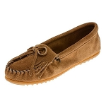 Minnetonka Moccasins 407T - Women's Kilty Hardsole Moccasin - Taupe Suede