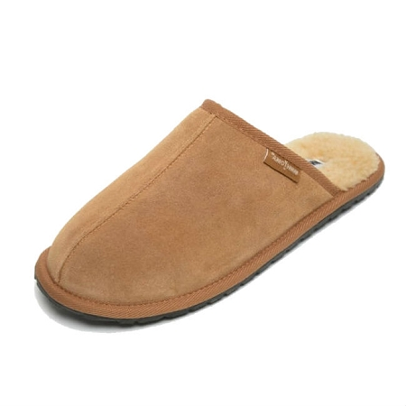 Minnetonka Moccasins 4131 - Men's Franklin Slipper - Berber Lined - Cinnamon Suede