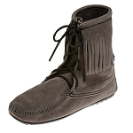Minnetonka Moccasins 421T - Women's Ankle High Tramper Boot - Hardsole - Grey Suede