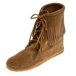 Minnetonka Moccasins 427T - Women's Ankle High Tramper Boot - Hardsole - Taupe Suede