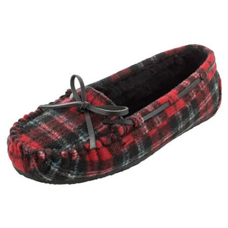 80c9f86e12ae5 Minnetonka Moccasins 4415 - Women's Plaid Cally Slipper - Pile Lined - Red  Flannel
