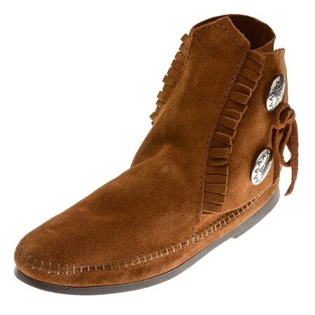 Minnetonka Moccasins 442 - Women's Two Button Hardsole Ankle Boot - Brown Suede