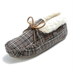Minnetonka Moccasins 44812 - Women's Chrissy Bootie - Pile Lined Slipper - Brown Plaid
