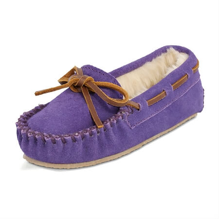 Minnetonka Moccasins 4814 - Children's Cassie Slipper - Purple Suede