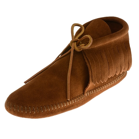 Minnetonka Moccasins 482 - Women's Fringed Softsole Boot - Brown Suede