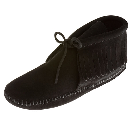 Minnetonka Moccasins 489 - Women's Fringed Softsole Boot - Black Suede