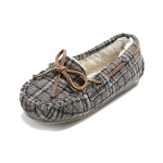 Minnetonka Moccasins 4902 - Children's Cassie Slipper - Brown Plaid