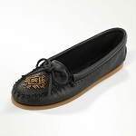 Minnetonka Moccasins 59 - Women's Deerskin Beaded Moccasin - Black