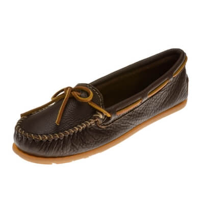 Minnetonka Moccasins 616S - Women's Boat Moccasin - Smooth Leather - Chocolate