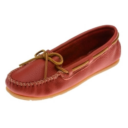 Minnetonka Moccasins 617R - Women's Boat Moccasin - Smooth Leather - Red