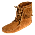 Minnetonka Moccasins 622 - Women's Double Fringe Tramper Boot - Brown Suede