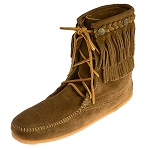 Minnetonka Moccasins 623 - Women's Double Fringe Tramper Boot - Dusty Brown Suede