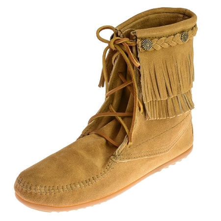 Minnetonka Moccasins 627T - Women's Double Fringe Tramper Boot - Taupe Suede