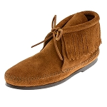 Minnetonka Moccasins 682 - Women's Fringed Ankle Boot - Hardsole - Brown Suede
