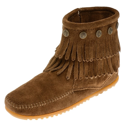 Minnetonka Moccasins 693 - Women's Double Fringe Boot - Side Zip - Dusty Brown Suede