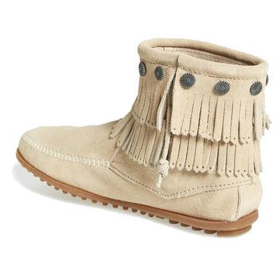Minnetonka Moccasins 696 - Women s Double Fringe Boot - Side Zip ... d44ece5943