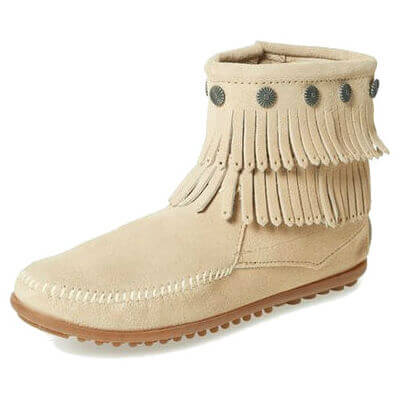 Minnetonka Moccasins 696 - Women's Double Fringe Boot - Side Zip - Stone Suede