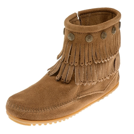 Minnetonka Moccasins 697T - Women's Double Fringe Boot - Side Zip - Taupe Suede