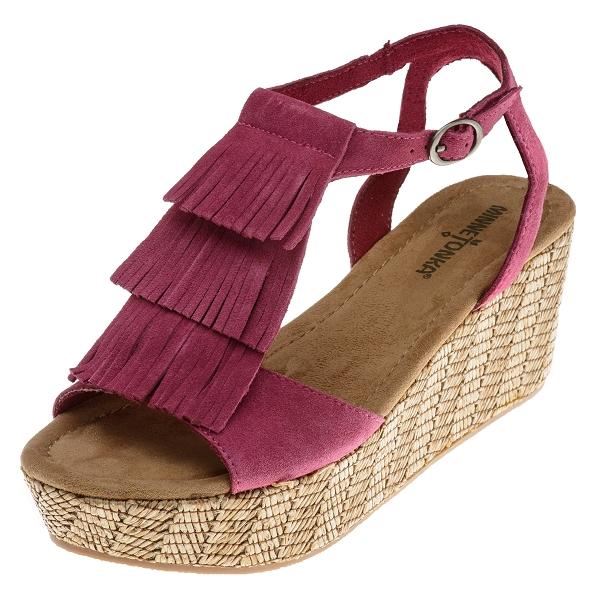 Minnetonka Moccasins 71500FSC Womens FuchsiaSuede Central Sandal