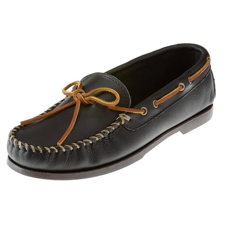 Minnetonka Moccasins 749 - Men's Smooth Leather Camp Moccasin - Black