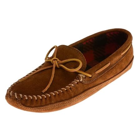 Minnetonka Moccasins 773 -Men's Softsole Fleece Moccasin - Brown Suede