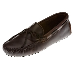 Minnetonka Moccasins 798 - Men's Smooth Leather Cowhide Driving Moccasin - Dark Brown