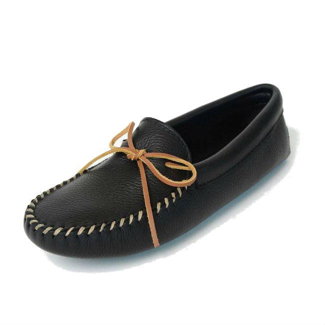 Minnetonka Moccasins 819 - Men's Deerskin Double Softsole Moccasin - Black