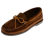 Minnetonka Moccasins 823 - Men's Rough Leather Hardsole Moccasin - Brown