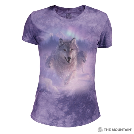 Northern Lights Wolves - 26-5842 - Women's Triblend Crew-Neck Tee