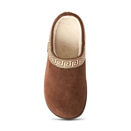 Old Friend Footwear - 340153 - Women's Terry Cloth Clog Slipper - Chocolate Brown