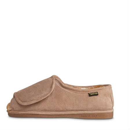 Old Friend Footwear - 421182 - Men's Sheepskin Adjustable Step-in Slipper - Chestnut/Stony Fleece