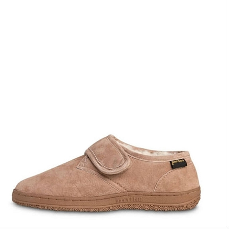 Old Friend Footwear - 421197- Men's Adjustable Slipper Bootee - 100% Sheepskin Lining - Chestnut