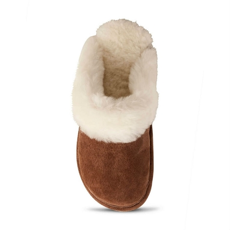 Old Friend Footwear - 441169 - Women's Sheepskin Scuff Slipper - Dark Brown