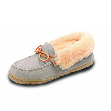 Old Friend - Women's Fina Moccasin - 441330 - High Cuff Shearling Lining - Grey
