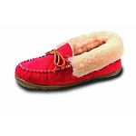 Old Friend - Women's Fina Moccasin - 441330 - High Cuff Shearling Lining - Ruby