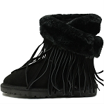 Oomphies For Kids - Youth Fringe Wrap Boot - Black Suede - OK1593