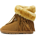 Oomphies For Kids - Youth Fringe Wrap Boot - Chestnut Suede - OK1593