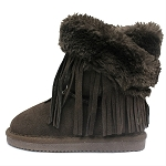 Oomphies For Kids - Youth Fringe Wrap Boot - Chocolate Suede - OK1593