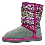 Oomphies For Kids - Girls Sequin Patterned Boot - Stripey Sequin - CK1460
