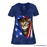 Patriotic Kitten - 41-3941 - Women's Triblend V-Neck Tee