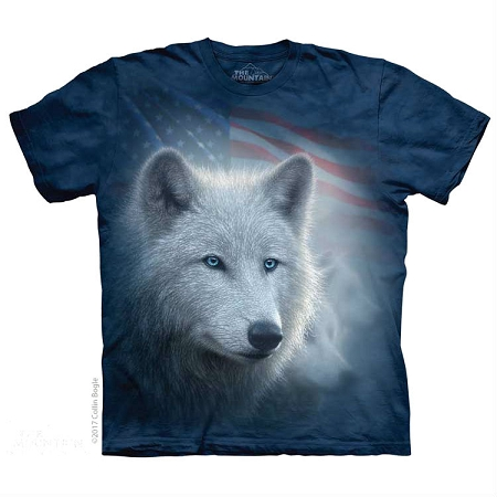 Patriotic White Wolf - 10-5967 - Adult Tshirt