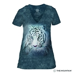 Thoughtful White Tiger - 41-5964 - Women's Triblend V-Neck Tee