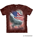 Patriotic Lights Wolf - 10-6440 - Adult Tshirt