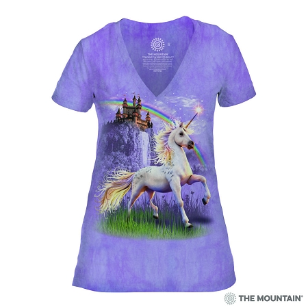 Unicorn Castle - 41-3146 - Women's Triblend V-Neck Tee