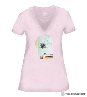 Good Vibes Only - Pink - 41-6339 - Women's Triblend V-Neck Tee